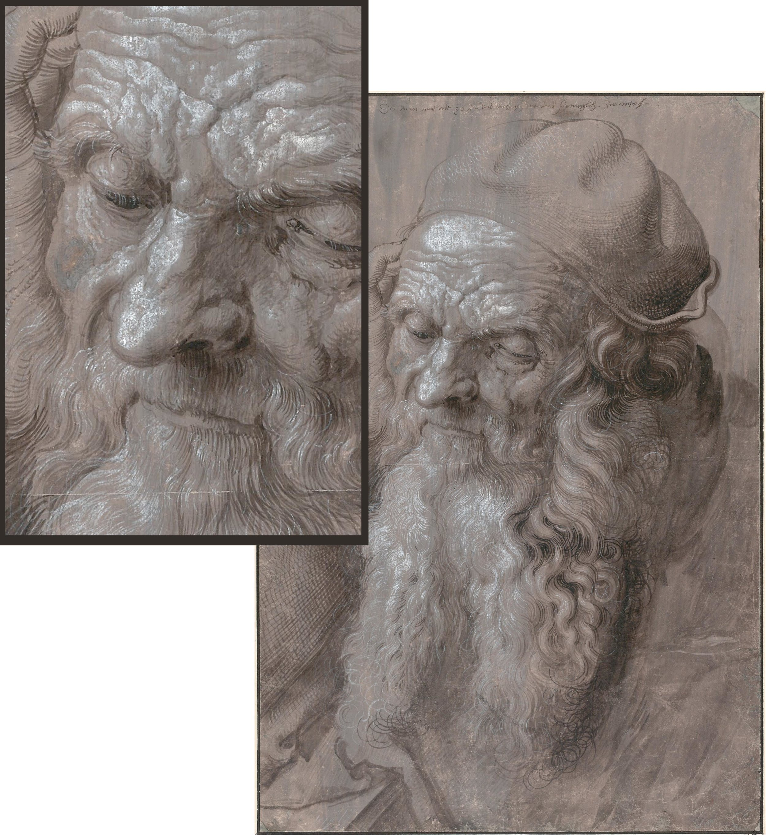 1521. head of an old man by Albrecht Dürer - with inset showing detail