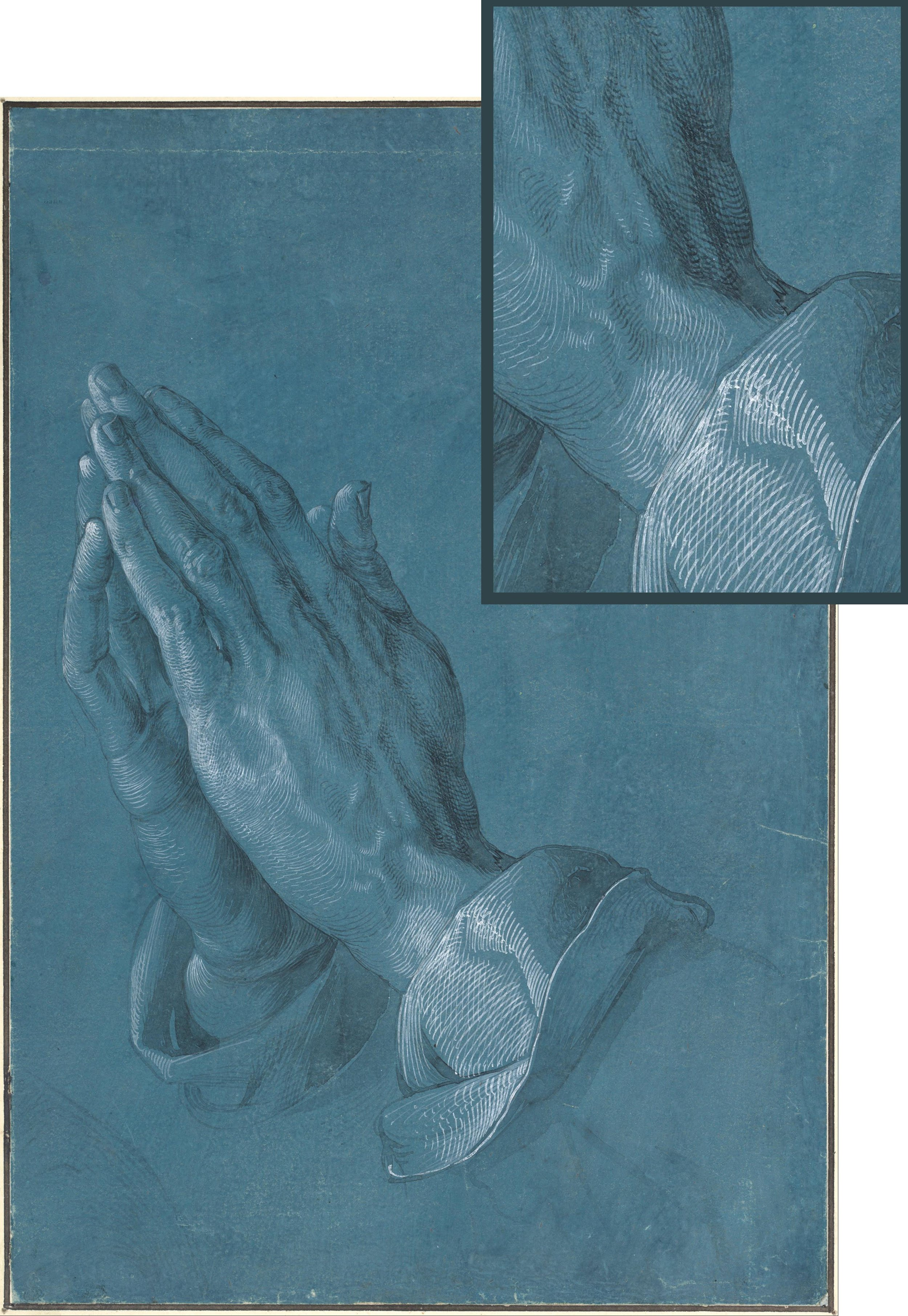 1508. Praying Hands by Albrecht Dürer - with inset showing detail