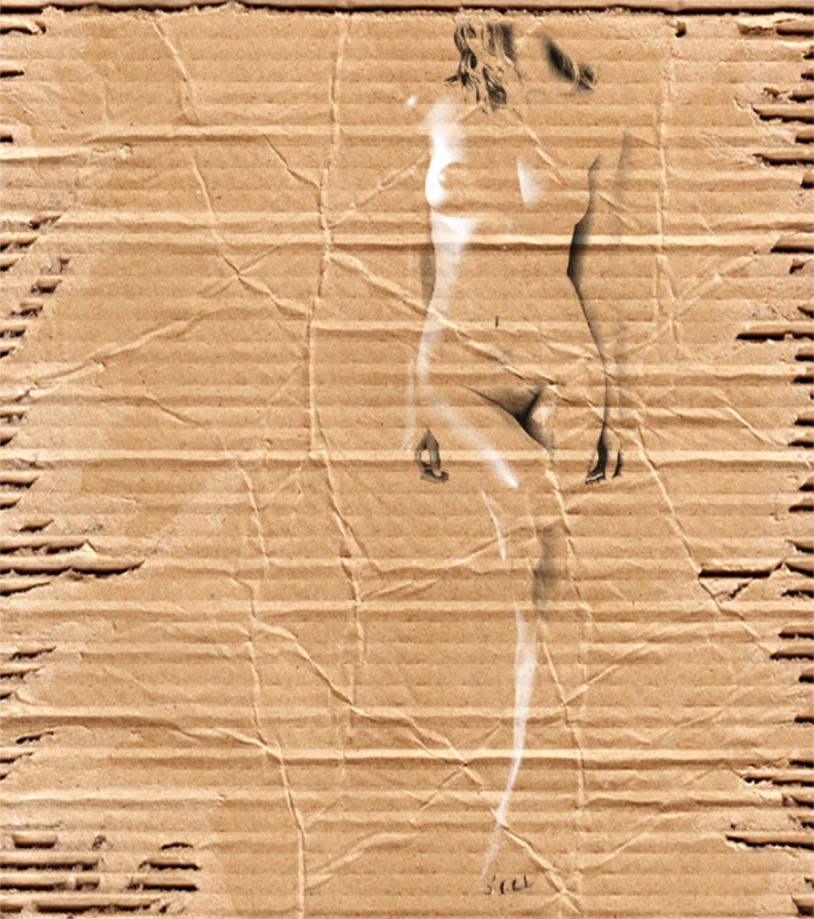 Female Nude on Cardboard - WIP