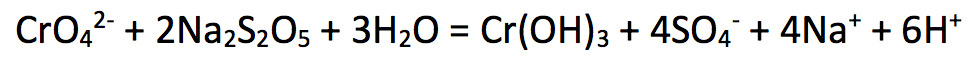 Chemical equation for the reduction of dichromate (Chrome(VI)) to Chrome(III) hydroxide