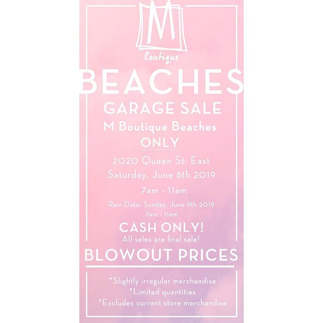 Wake up, babes! It's our fav time of year - our garage sale at beaches location ✨✨ 7 am to 11am ✨✨ details on post