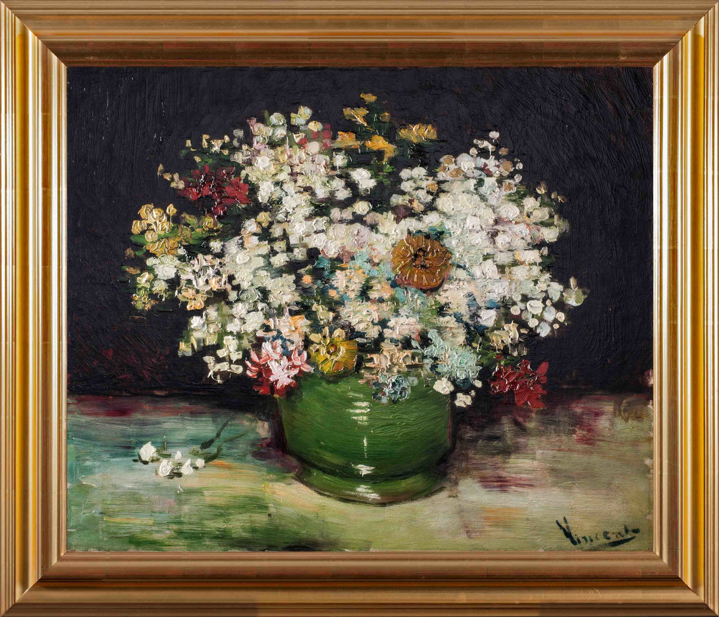 Bowl of Zinnias and Other Flowers