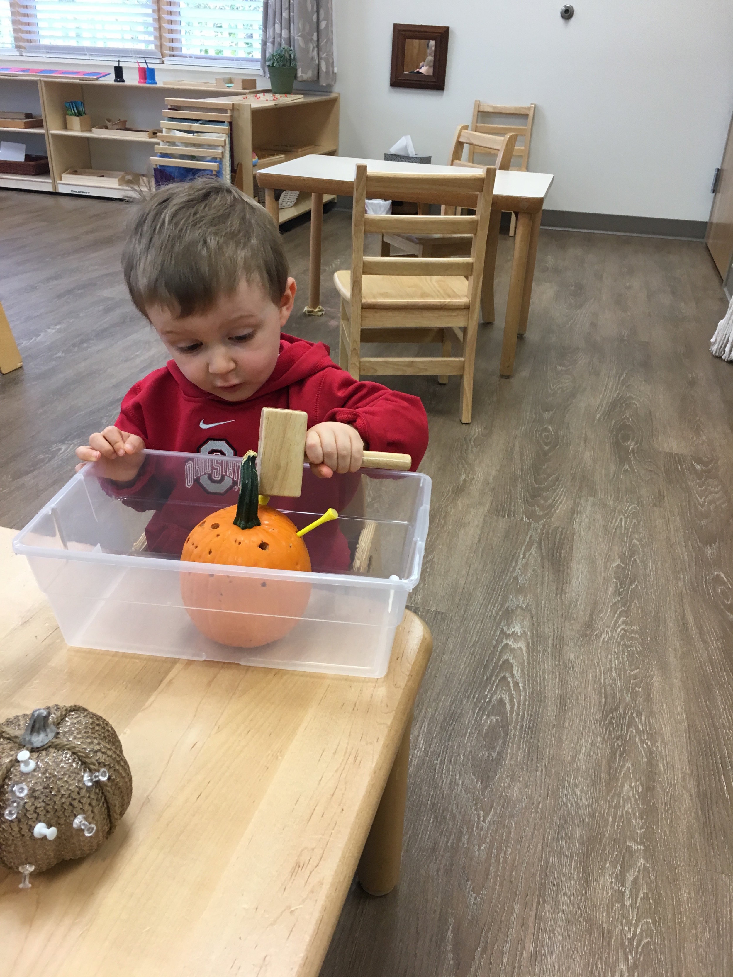 Children in the classroom are encouraged to observe their classmates working. Our multi-aged classrooms allow children to learn from those who are older.