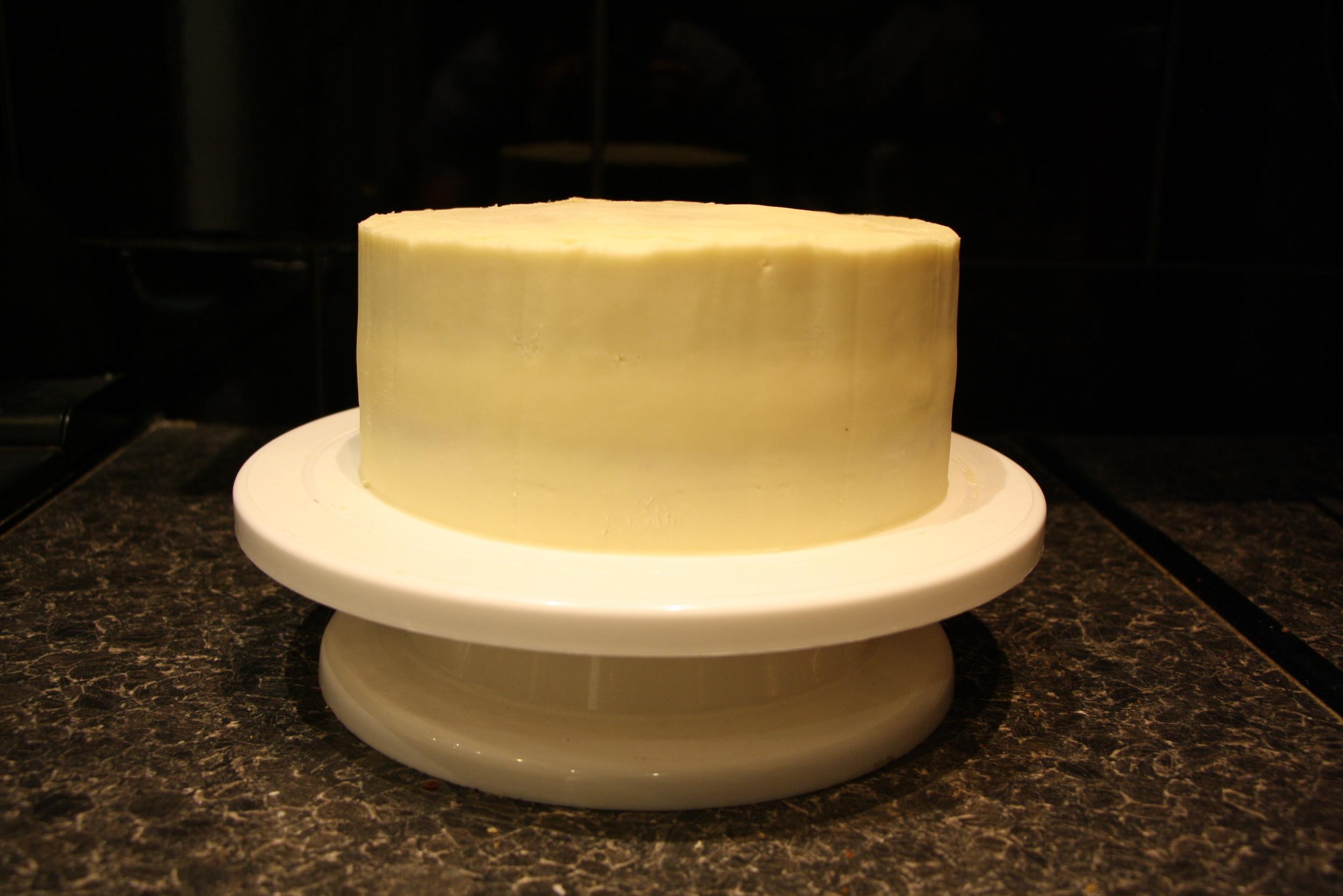 Buttercream coated cake