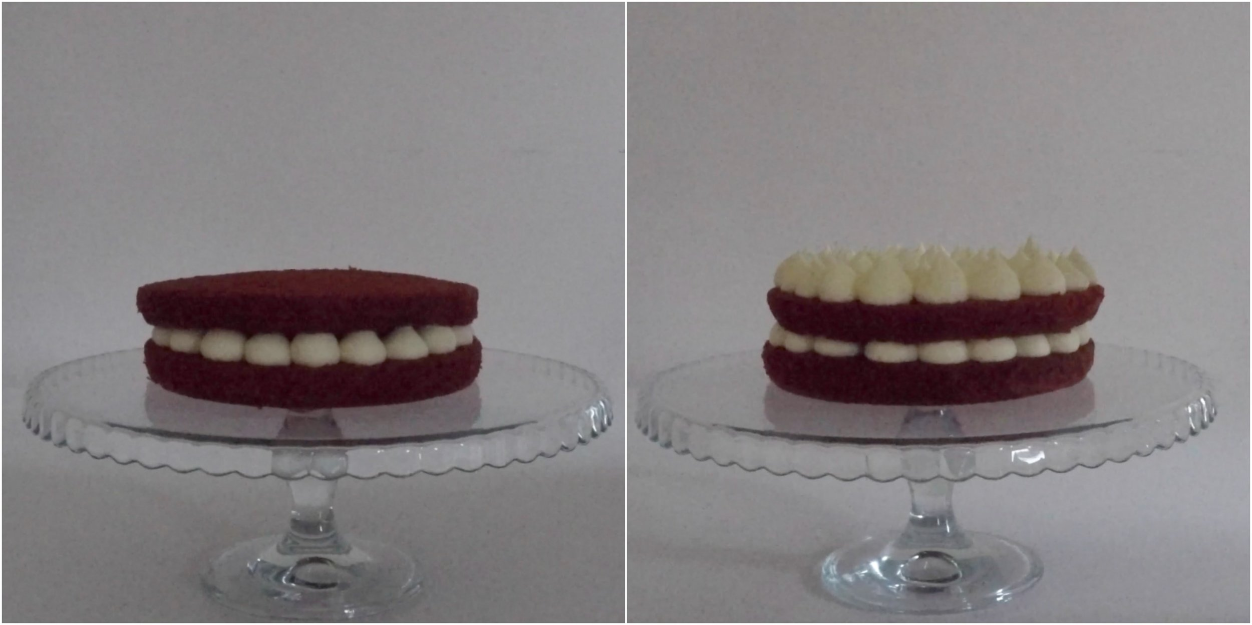 Red Velvet Cake filled with Cream Cheese Frosting