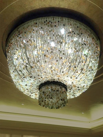 This massive  Lavaliere Luminaire Grand ceiling fixture (designed by  Thomas Fuchs ) was customized for a large hospitality interior.
