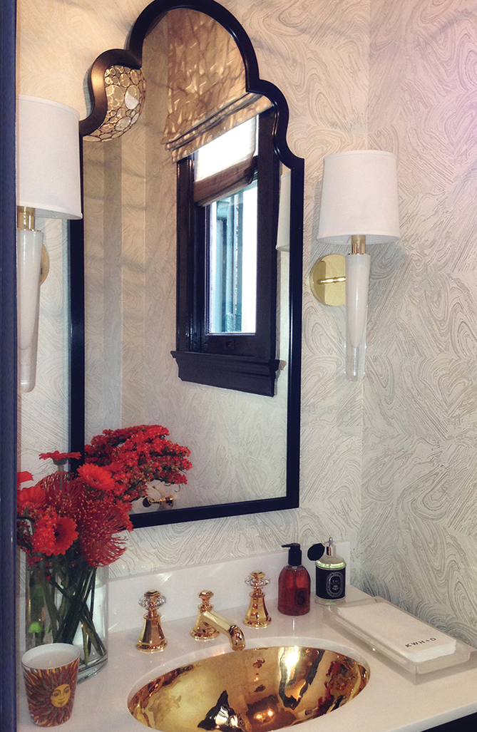 A pair of hand blown, white  Grasse Sconces designed by  Jamie Drake  are a focal point in this powder room by  Kristi Will Design .Available in 4 glass colors, 3 nickel finish options and 3 brass finish options.