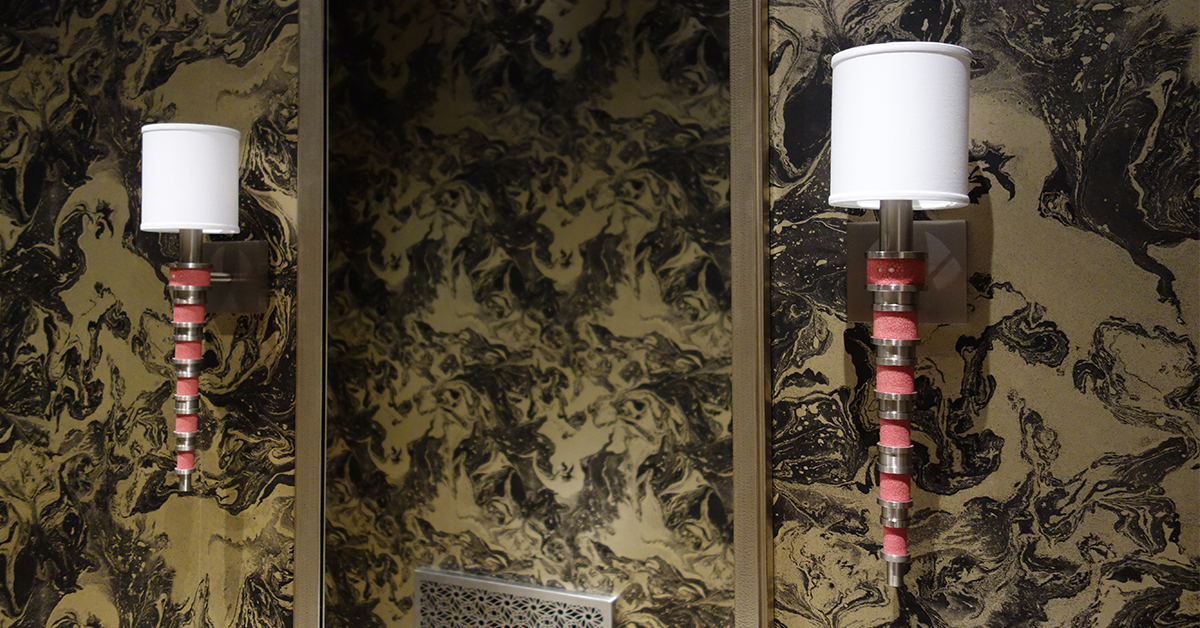 In his own bathroom,  Jamie Drake  chose a pair of his very own  Topanga II Sconces  designed for Boyd Lighting. The absolutely stunning shagreen  (shown here in Peony)  or wood collars come in 9 different options. There are 5 metal finish options and the option of a silk or metal shade.