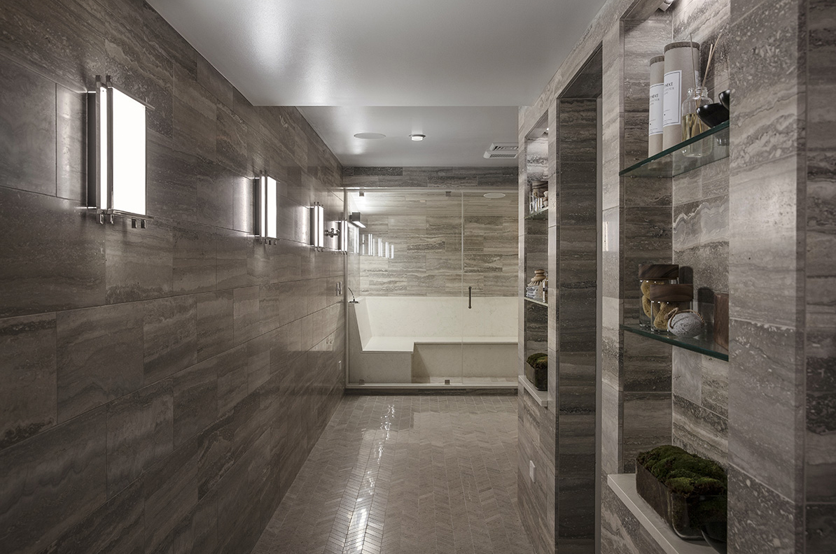 Cadence I LED Sconce . Bathroom by Ashli Mizell Inc. Photo by Jason Varney.