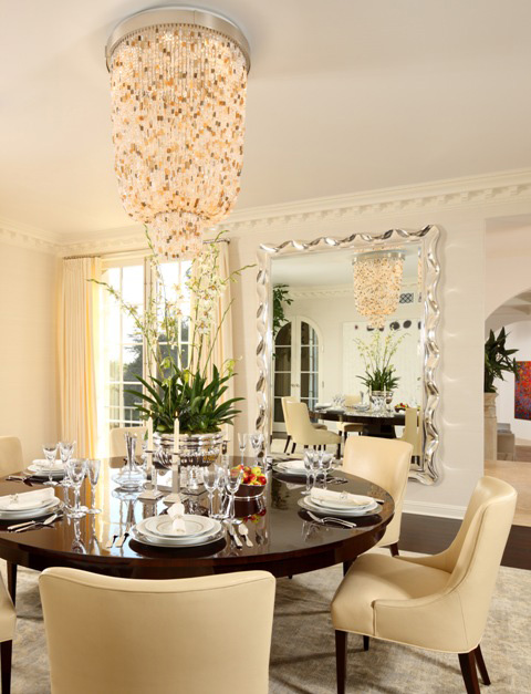 Lavaliere Grand Ceiling . Dining Room by Fogel Interiors. Photo by Gremly Media.