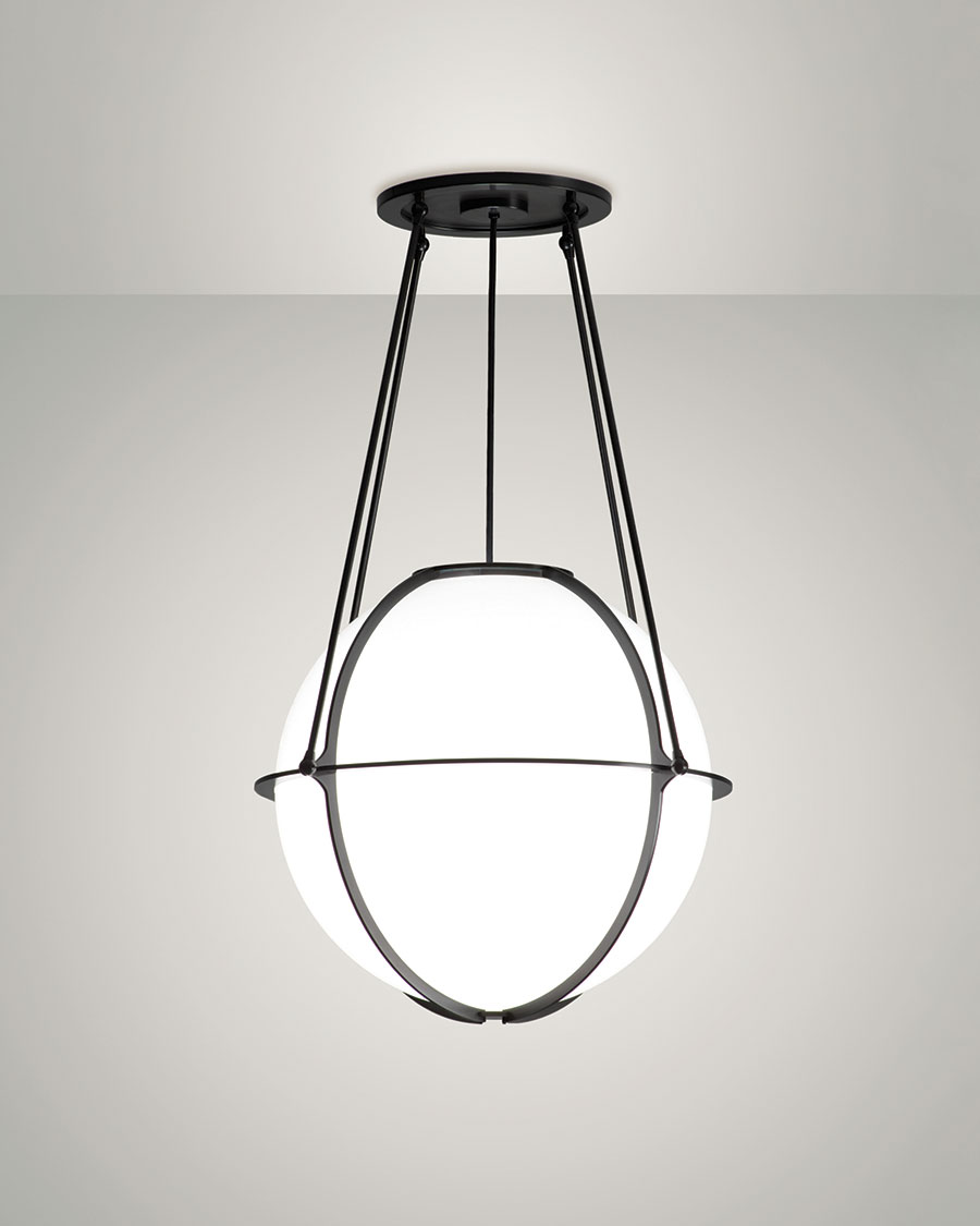 Globe Pendant - Winner of the ADEX award by Design Journal, this ceiling pendant is available in five standard powder coat options, or it can be customized to match any color scheme. Multiple sizes, heights, finishes and lamping options give this globe universal appeal.Available in three sizes20
