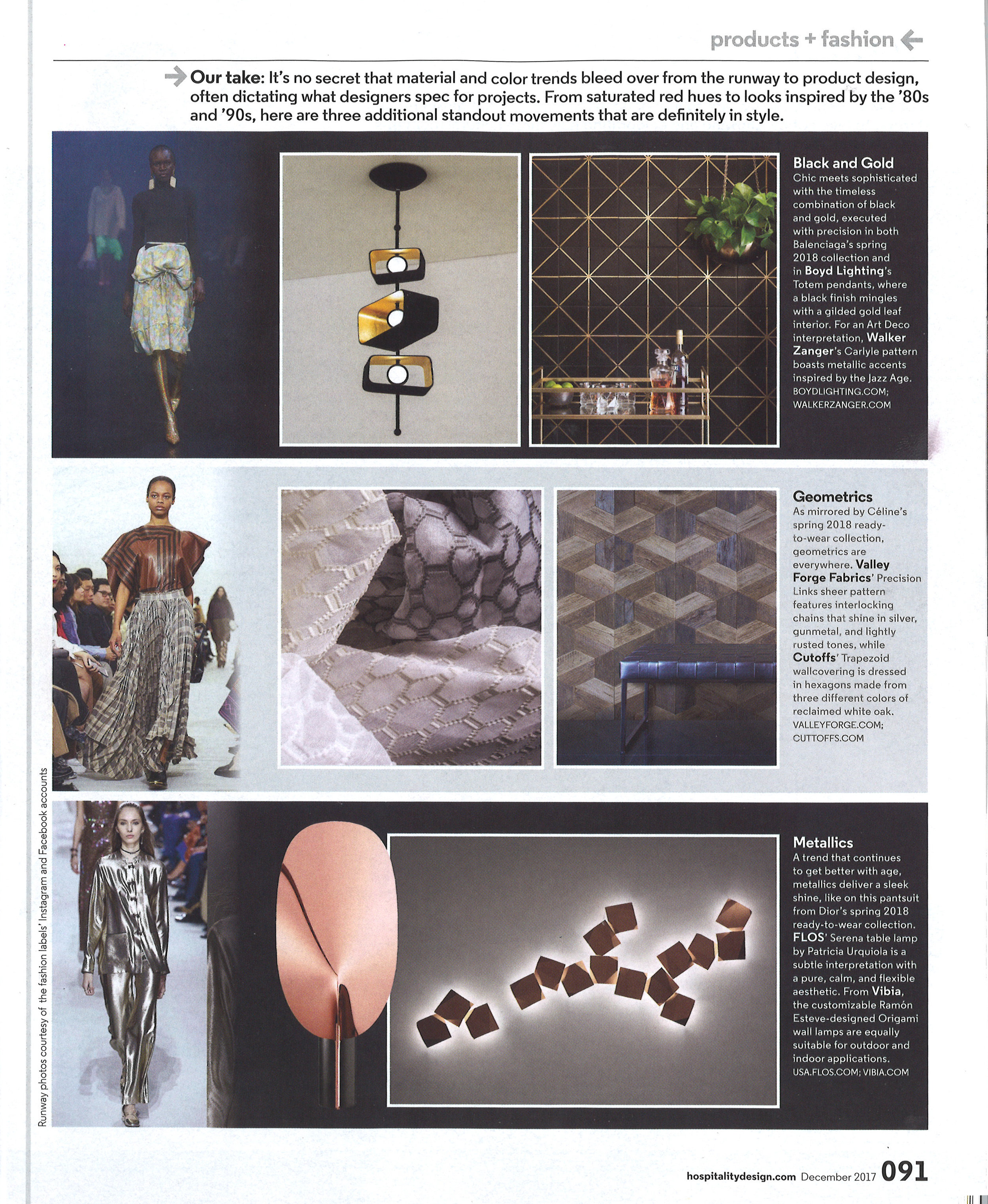 Totem 3 Pendant by Boyd Lighting in Hospitality Design magazine December 2017