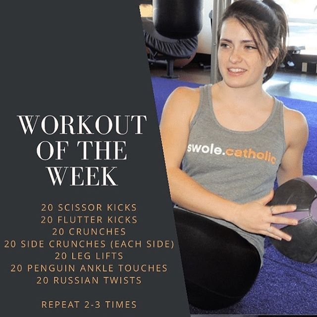 WORKOUT OF THE WEEK! Try out this ab work out and let us know what you think. What's your favorite type of workout? Arms? Leg day? Cardio?  Comment or DM us! Post a story of you doing this workout and we will share it on ours. Just tag @swolecatholic #catholic #workout #workouts #workoutsformen#workoutsforwomen #catholicworkout #catholicchurch#catholicmission #absworkout #legworkout #fullbodyworkout #coreworkout #armworkout #catholicabs #denvercatholic #bouldercatholic #denvercolorado #swolecatholic #catholicworkout #colorado #coloradoworkout