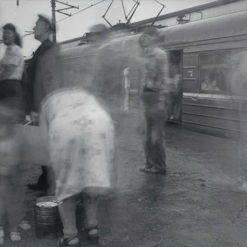 Boarding a local train to Oredezh, Kuptchino Railway Station, 1993