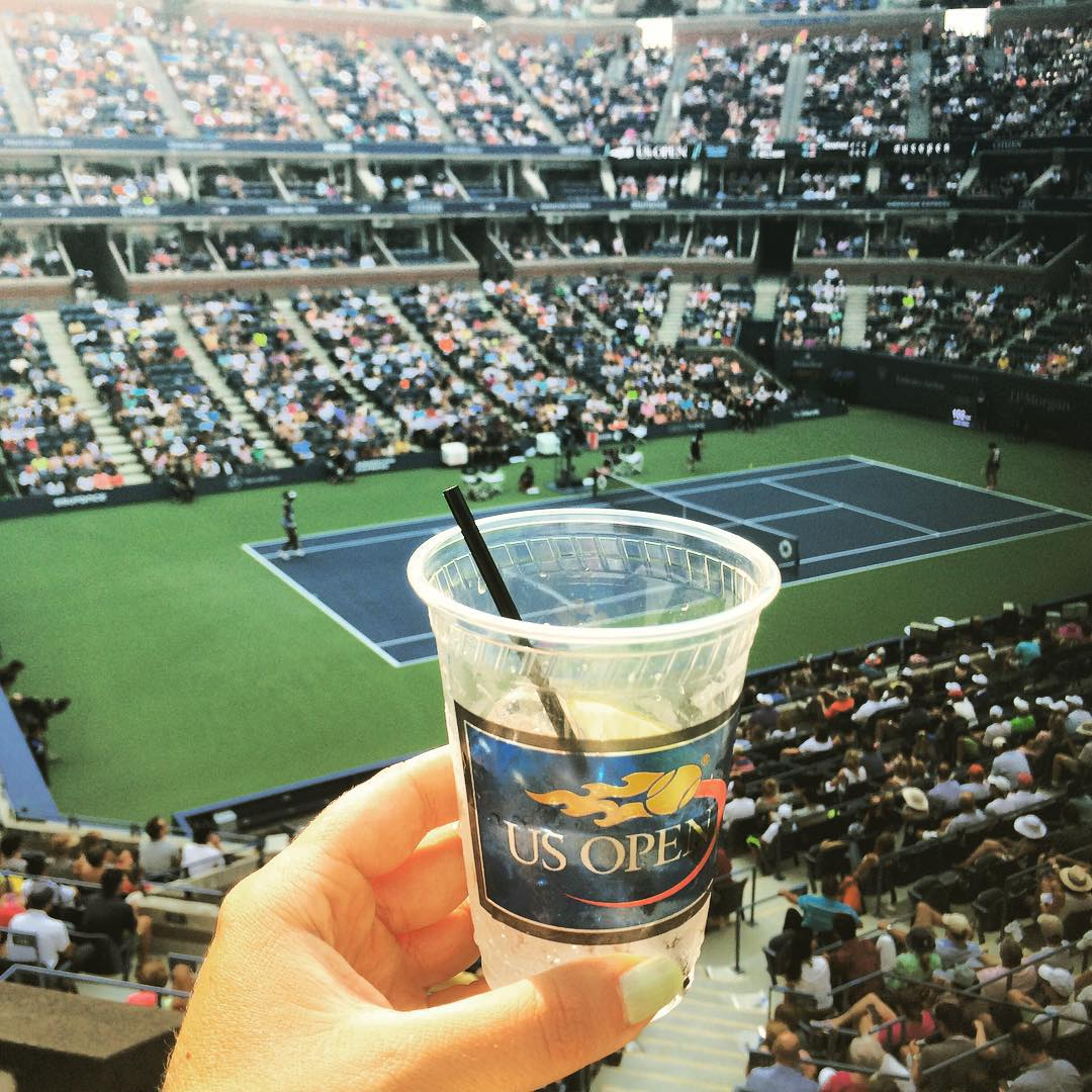 Taking in the Venus match from the @volvocaropen suite at the #USOpen. After an exciting day, it's always nice to take a little work break. #werkperk @drinksintheair