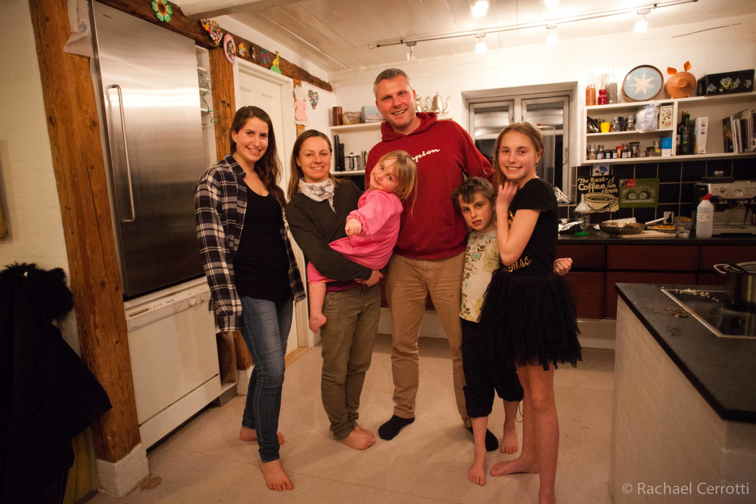 Me (left) with the Christiansen Family on my last night on the farm.