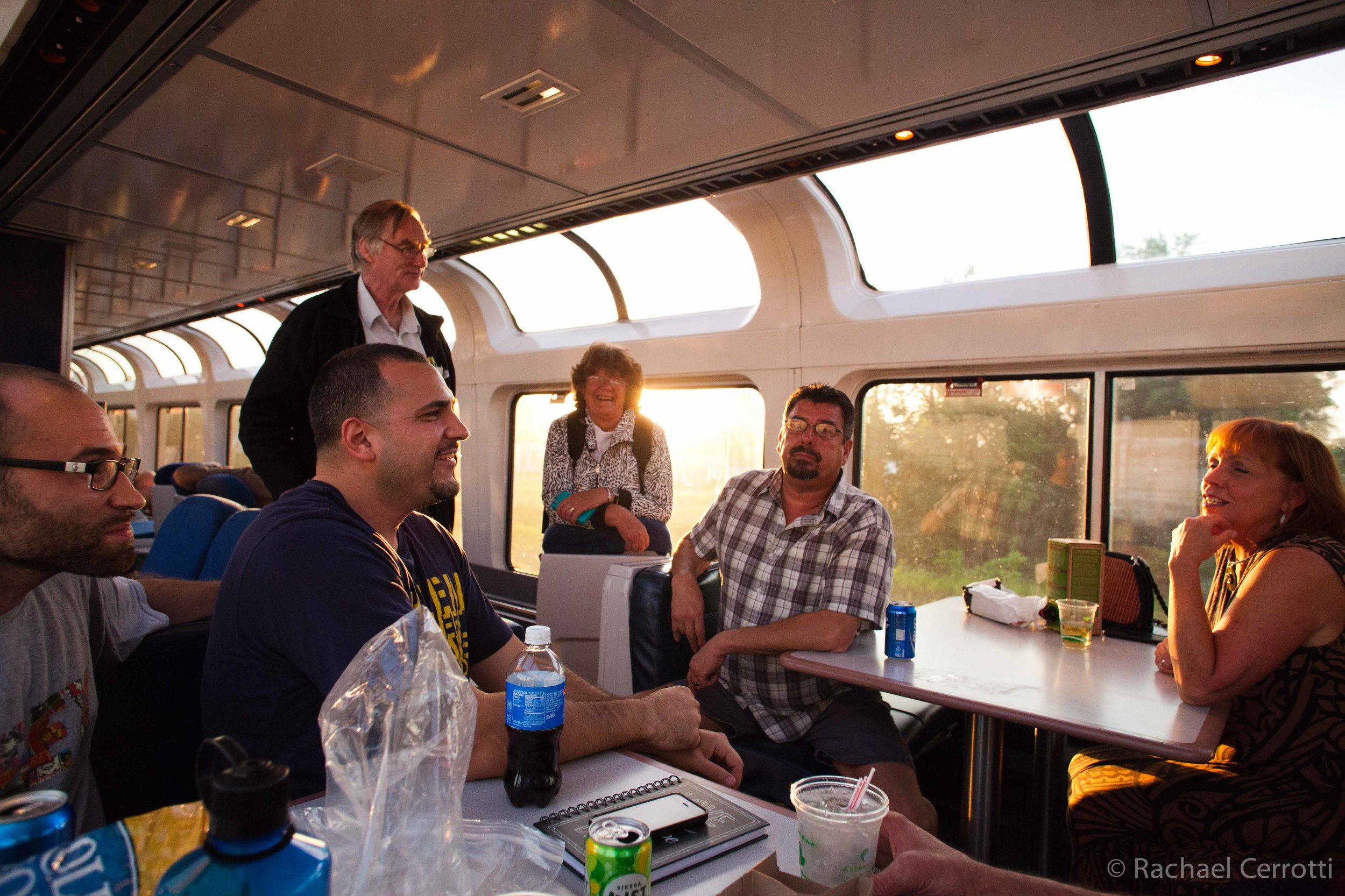 As the sun set, conversation continued in the lounge car on Amtrak's California Zephyr.