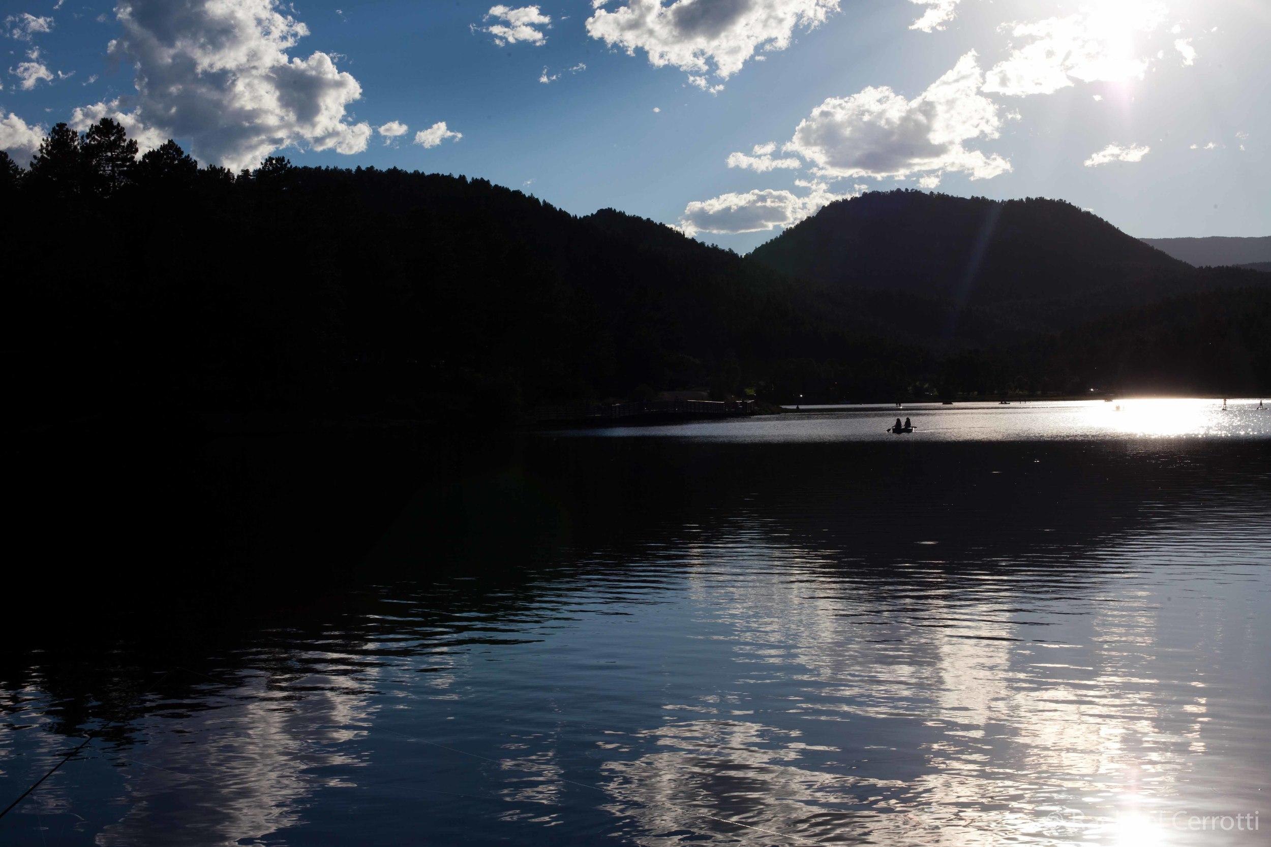 The Evergreen Reservoir in the evening light.