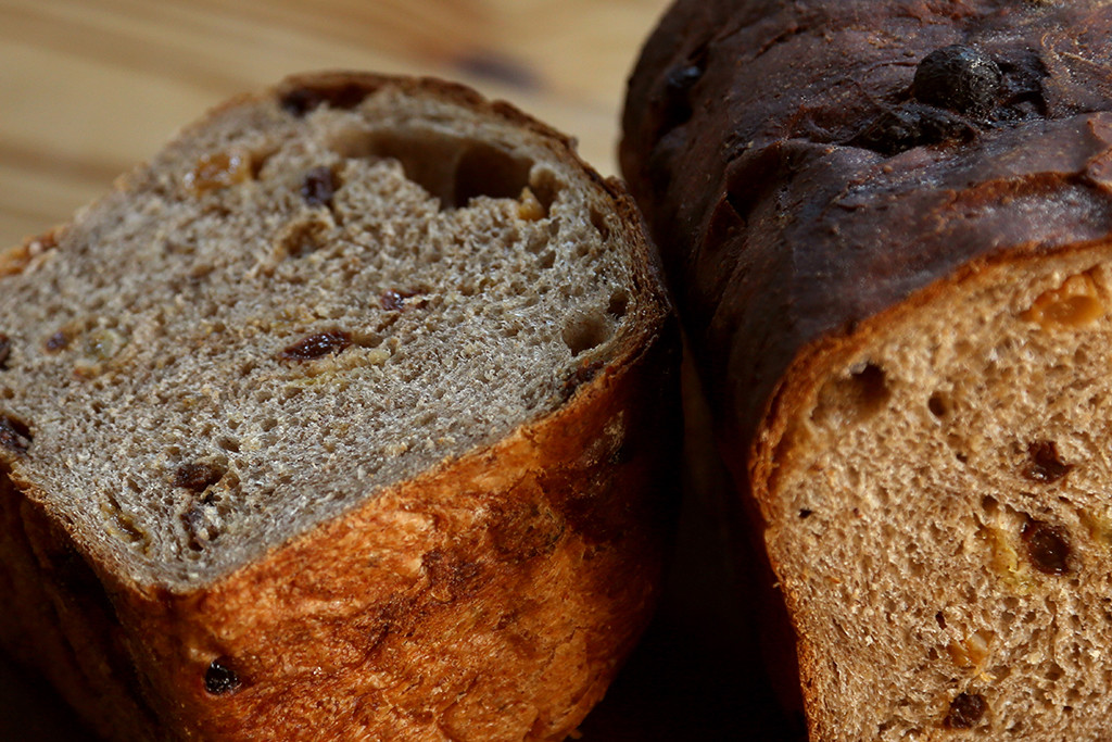 Cinnamon Raisin   Soft as a pillow with oats, mike and honey and a small bit of canola oil this is a wonderful breakfast bread to spread with butter. Try it with a thin slice of sharp cheddar and apple for a taste sensation! Cinnamon Raisin is a yeasted bread.
