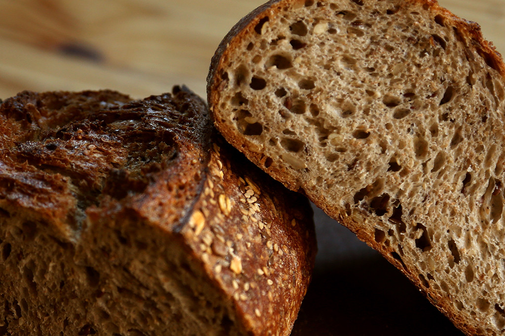 Organic Multigrain   This is a great organic, naturally- leavened sourdough, packed with loads of organic flours (buckwheat & white flour) plus grains and seeds (wheat bran, spelt seeds, flax seeds, sunflower seeds, and sesame seeds.) Great for toast or for sandwiches of all types.