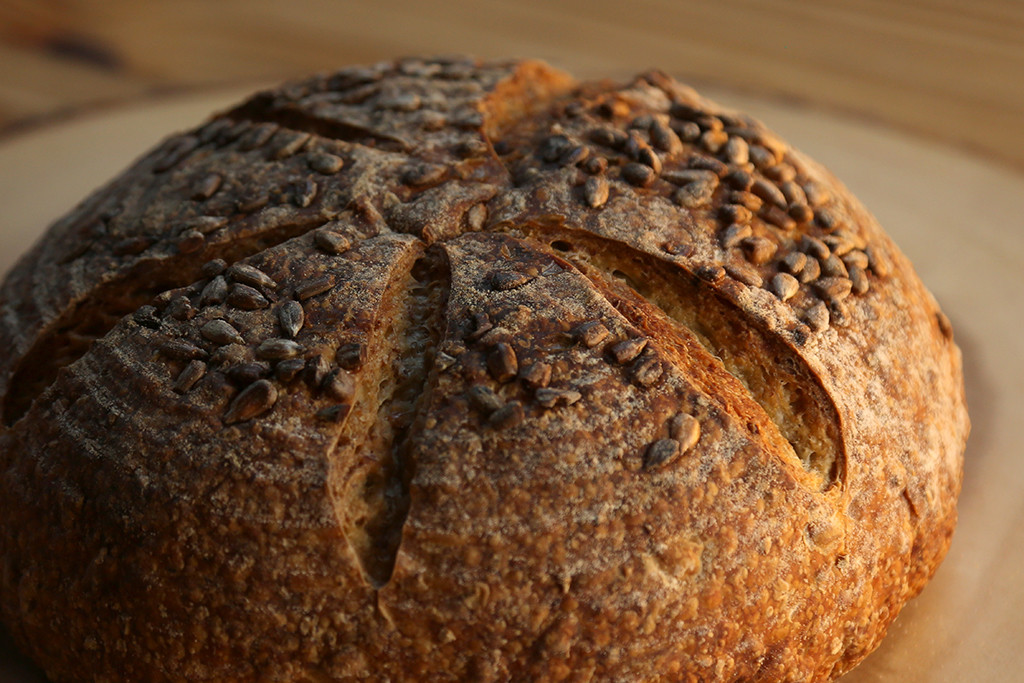 Sunflower Seed Levain   Toasted seeds bring out this breads nutty flavor. Similar to the East Aurora sourdough except for 20 percent rye chops (instead of whole rye) make this bread a little chewier. Great for soup or if used for a sandwich, especially with avocado, tomato, and sprouts.