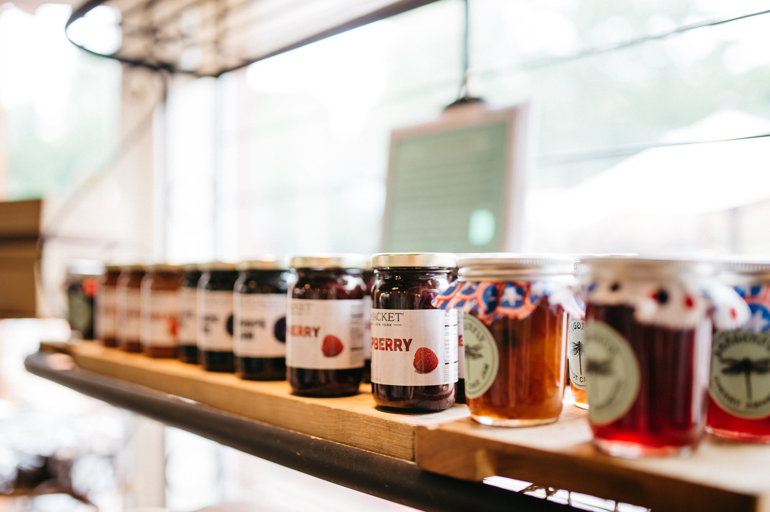 Seasonal preserves and jams are available.