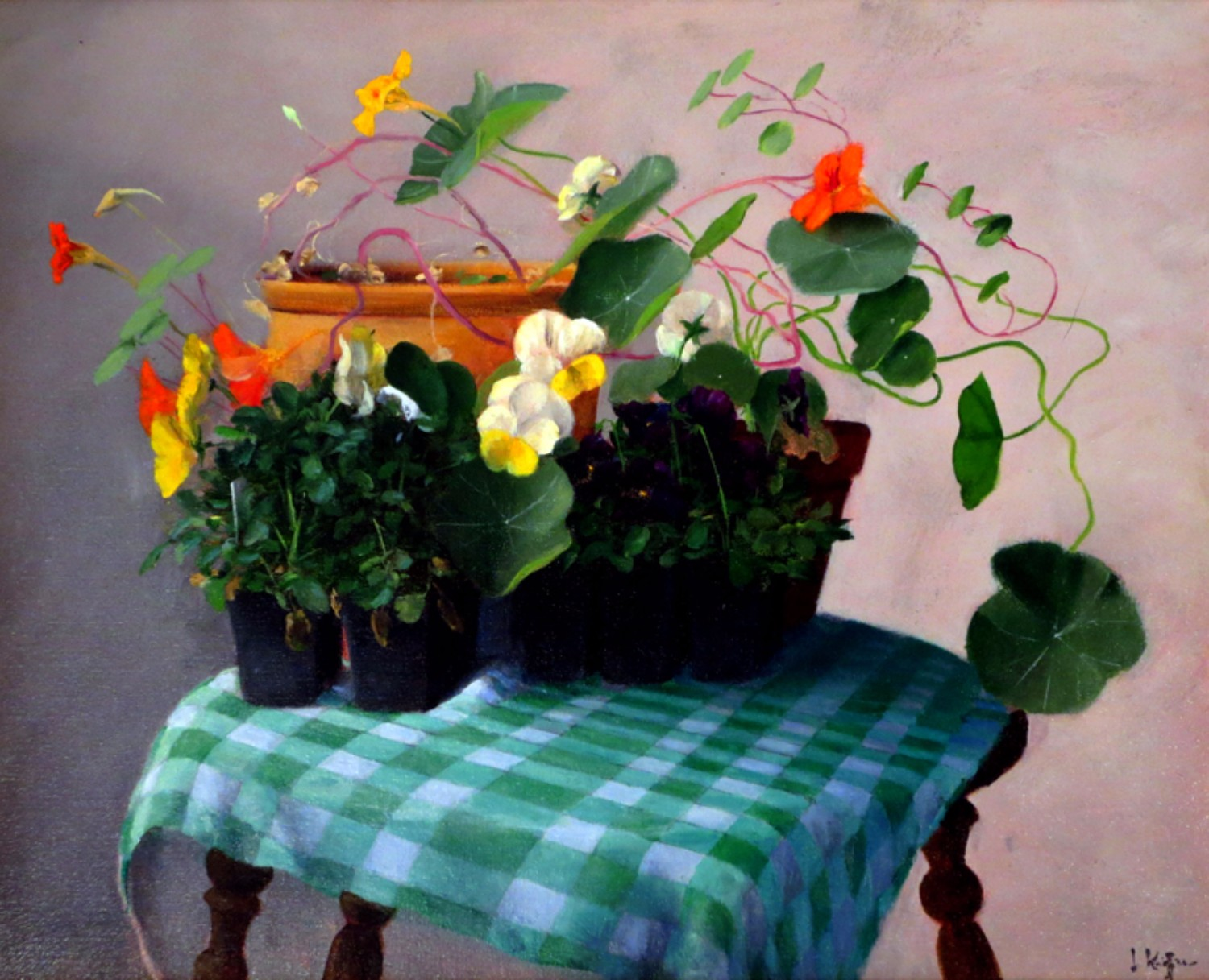 Box of Flowers, Green Checked Cloth