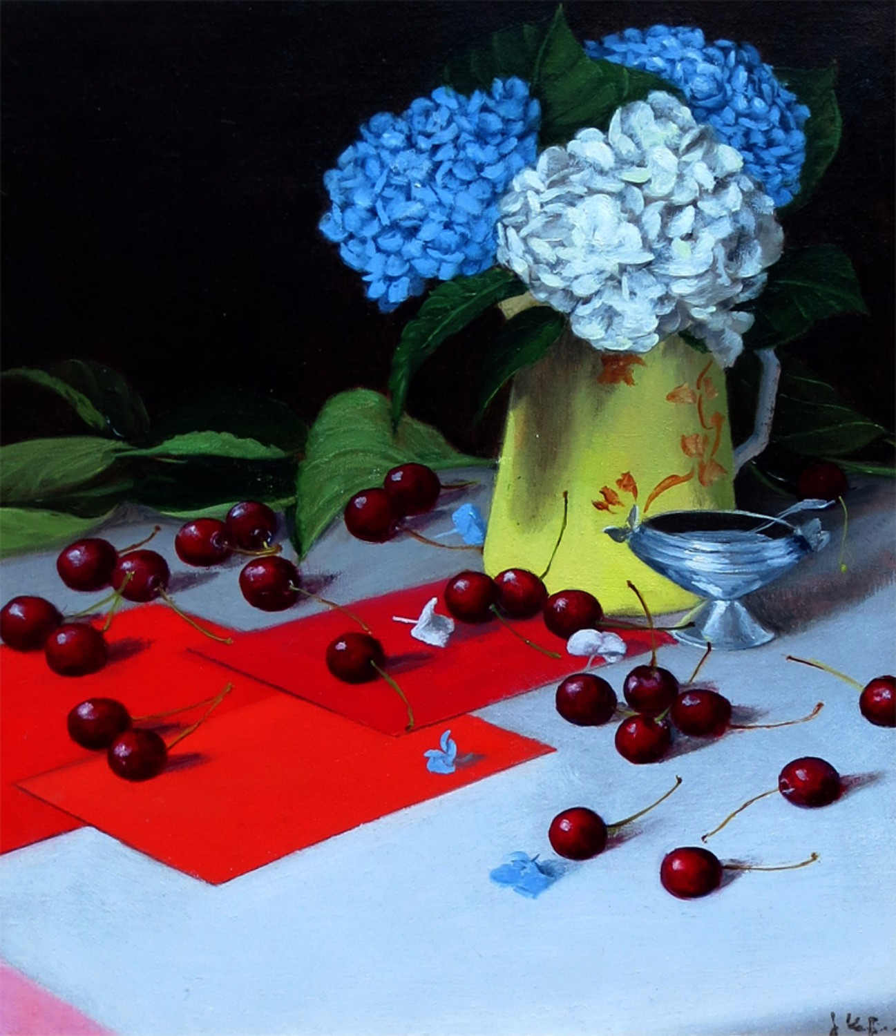 Still Life with Hydrangeas In Primary Colors