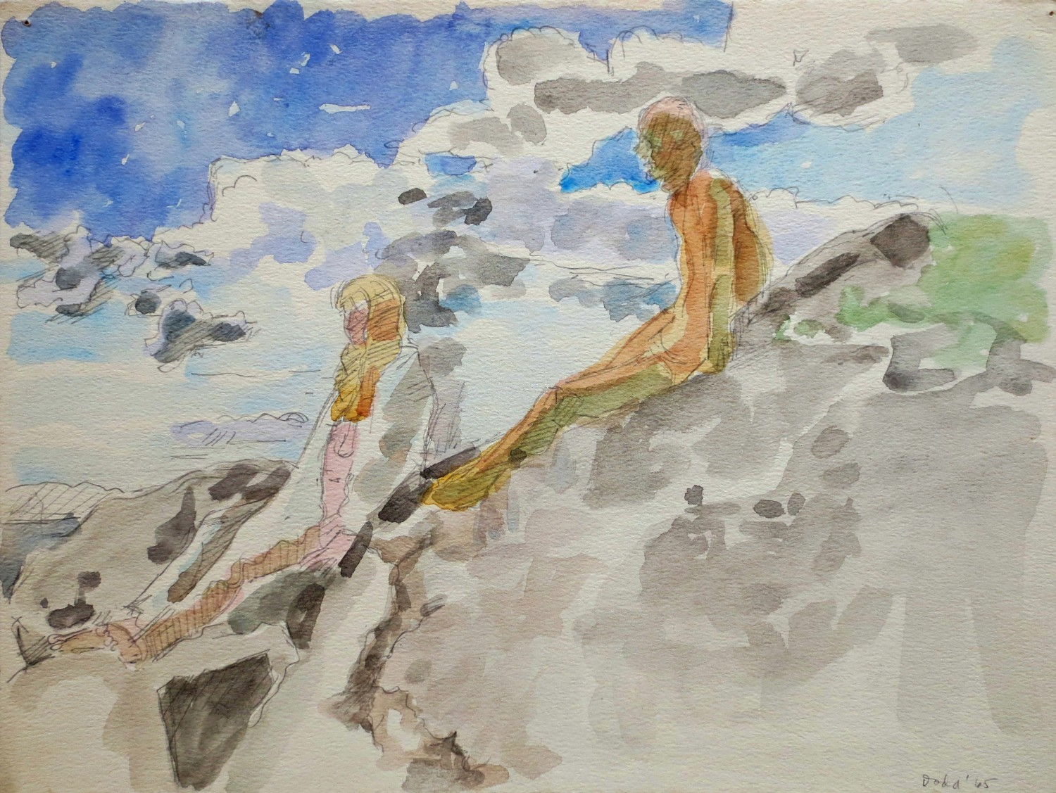 Two Figures on Rocks </br> (Models on Rock)