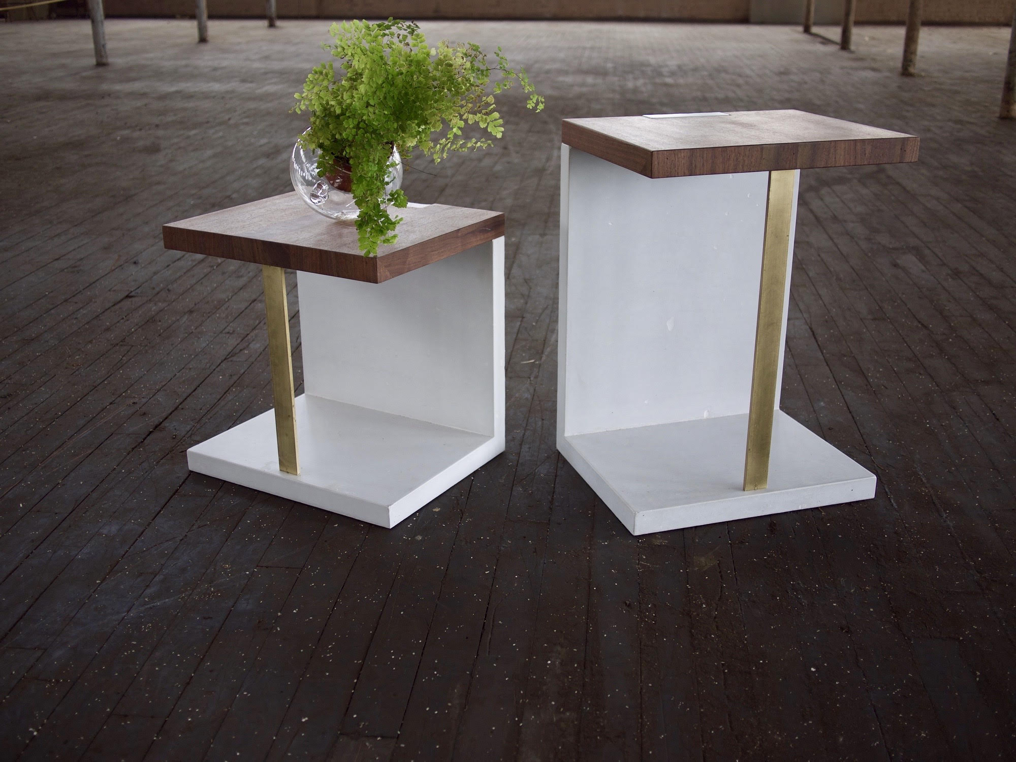 "Carlos Side Table. Walnut, Brass, Concrete. 22"" and 30"" (shown)"