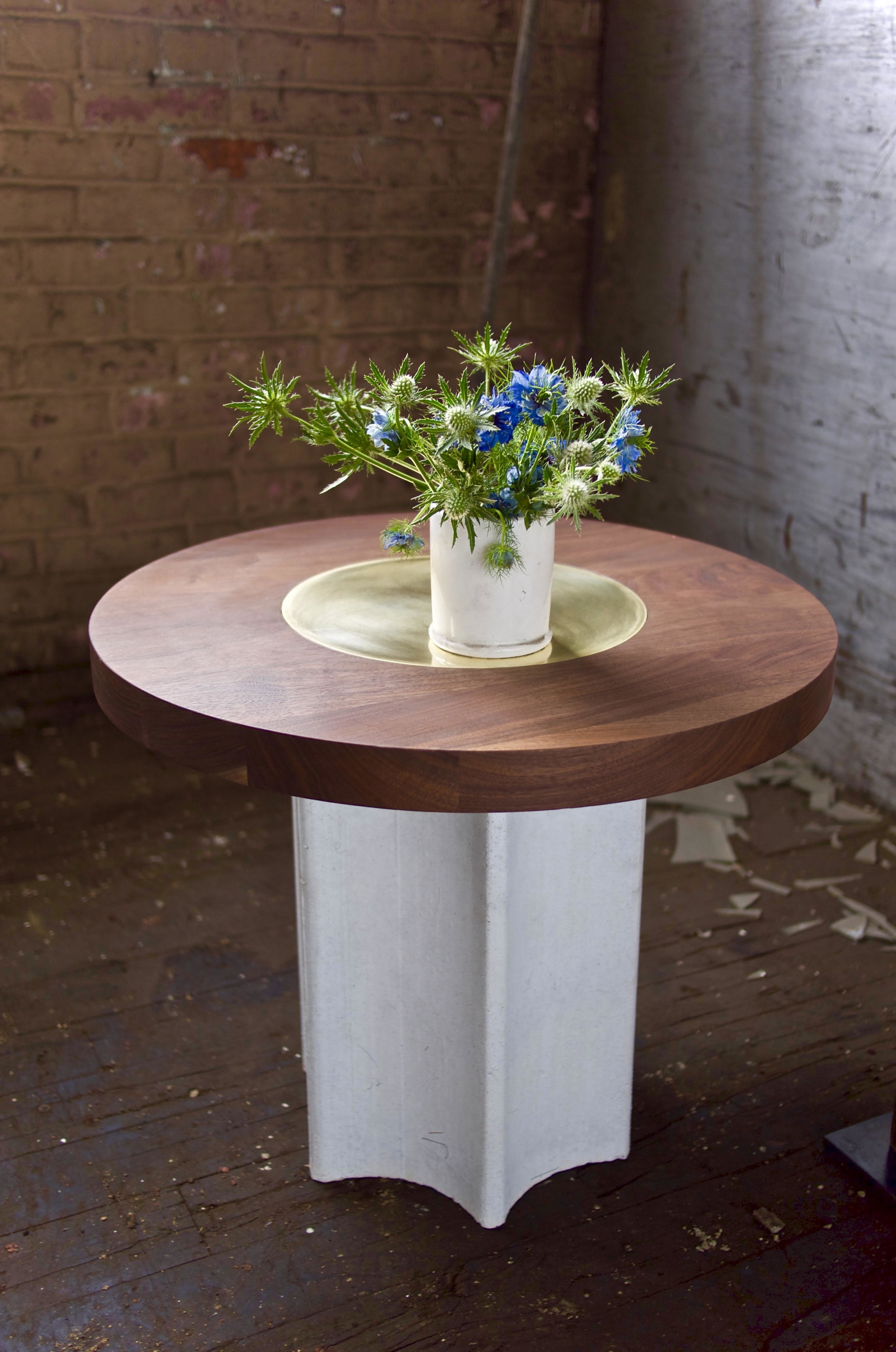 Ouevre Side Table. Walnut, Brass, Concrete