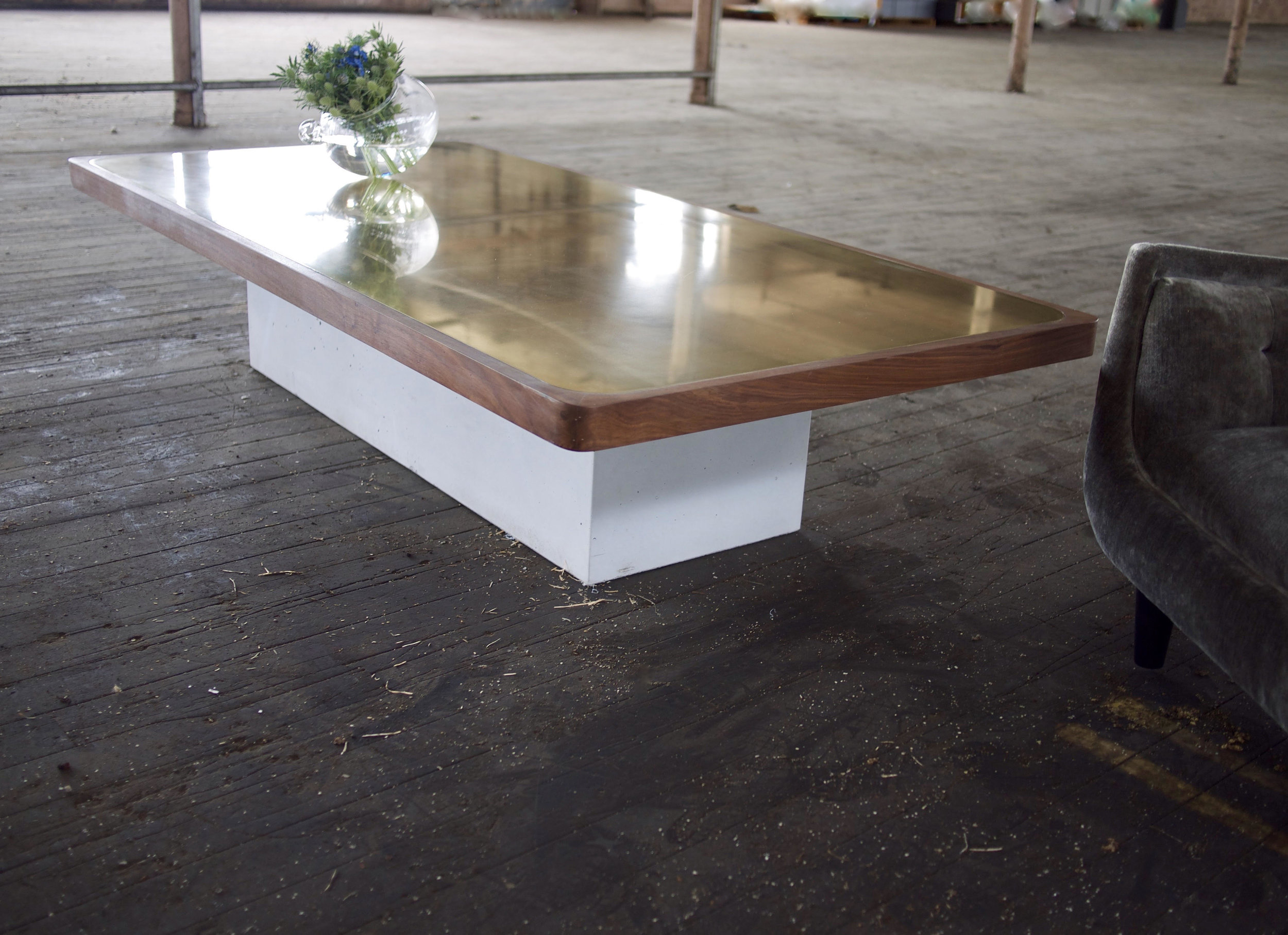 Orabella Coffee Table. Walnut, Brass, Concrete