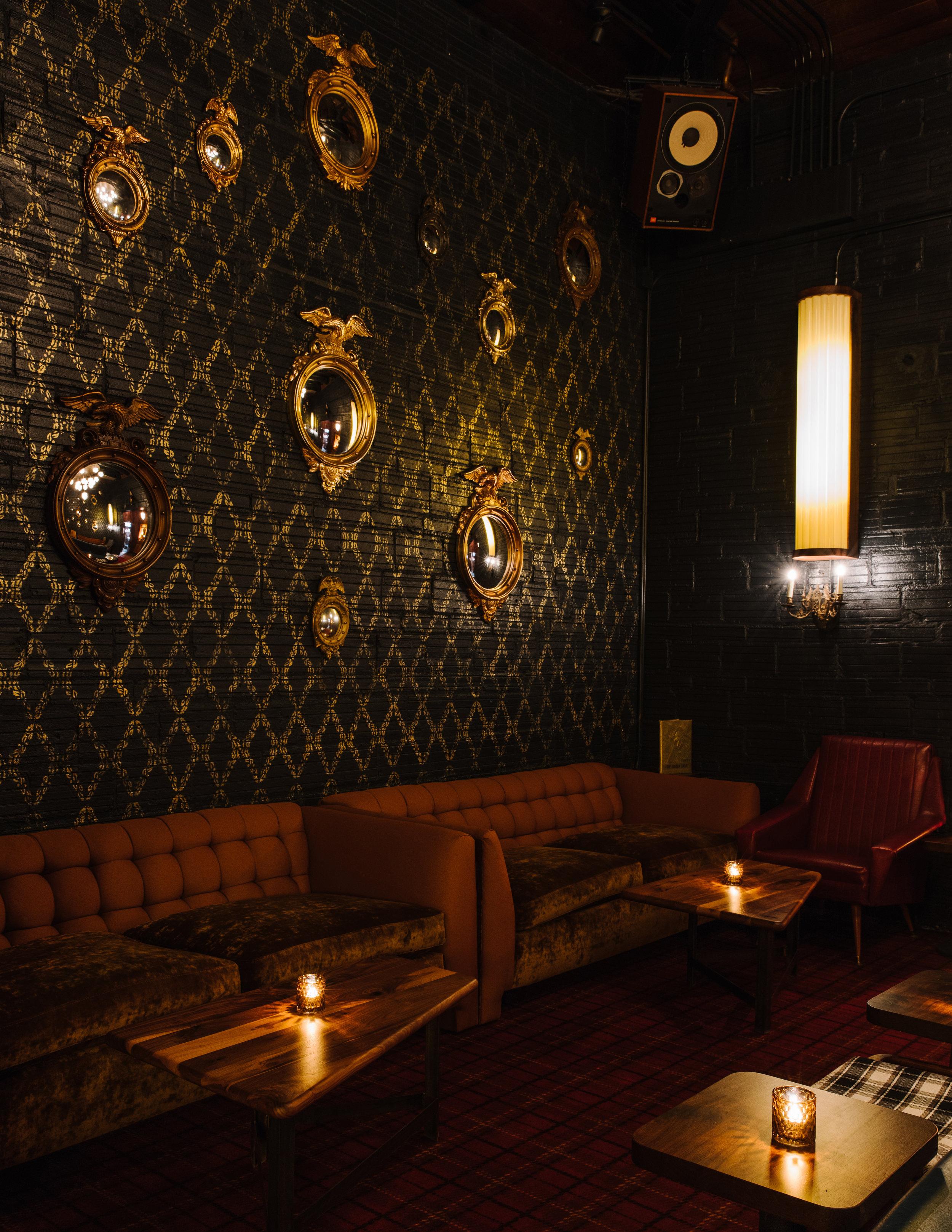 Golden Eagle Living Room Lounge detail, designed by Elizabeth Ingram.Photo: Andrew Thomas Lee