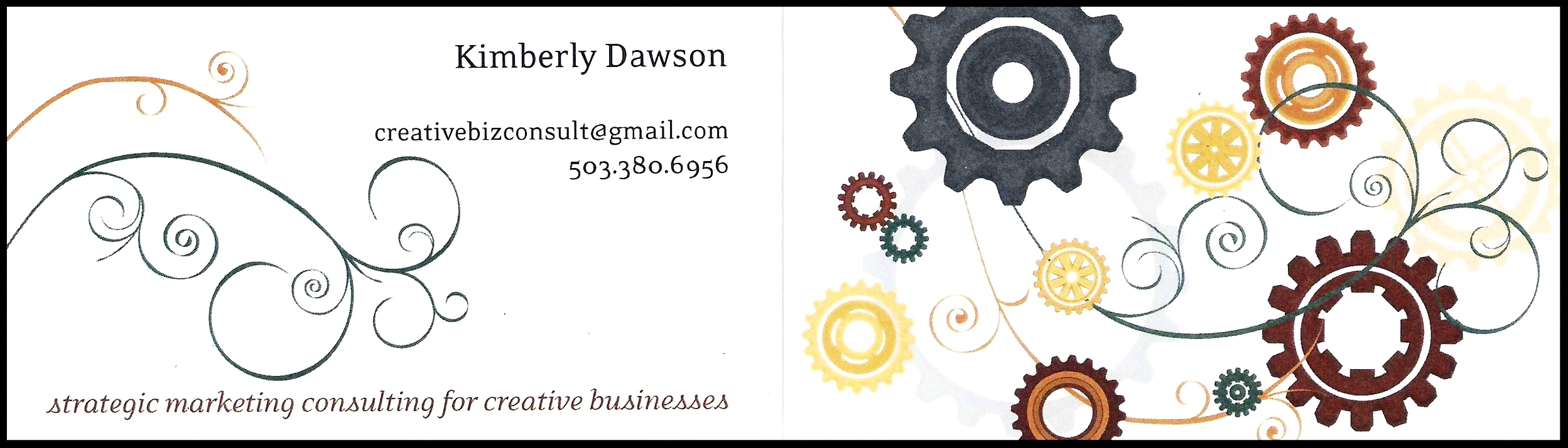 My first business card, branded with an email address: creativebizconsult@gmail.com (2009-10).