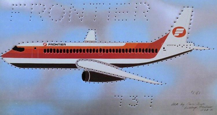 A Boeing 737 airliner outlined by Tom Frye.