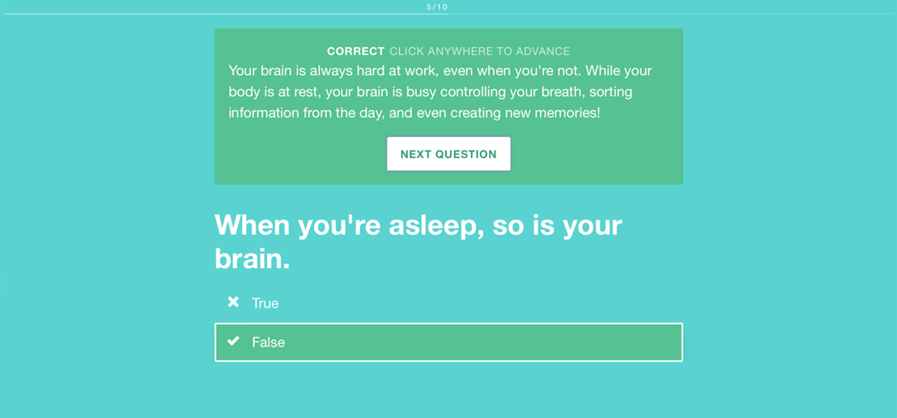 Interactive quizzes give parents a way to help children understand good sleep hygiene.