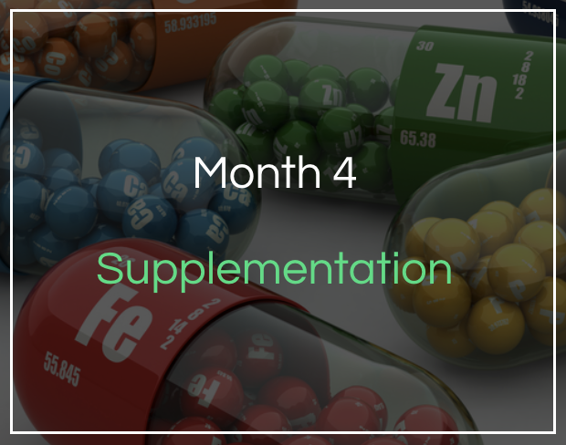 Month 4 - Supplementation - Pre, intra and post workout nutrition. Learn about supplement quality and what to choose and how to periodise supplementation over the year. We also cover blood testing this month.