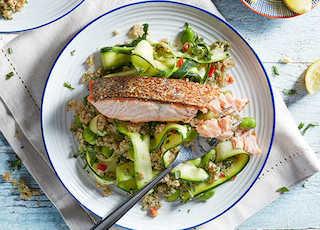 Salmon and lemon quinoa bean salad