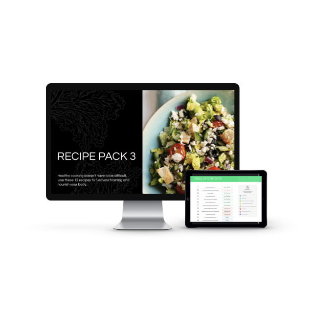 Pack 3 recipes and meal plan - So many good recipes in this pack!! Heuvos rancheros, almond banana pancakes, slow cooker fajita chicken and moroccan cod are a few highlights.
