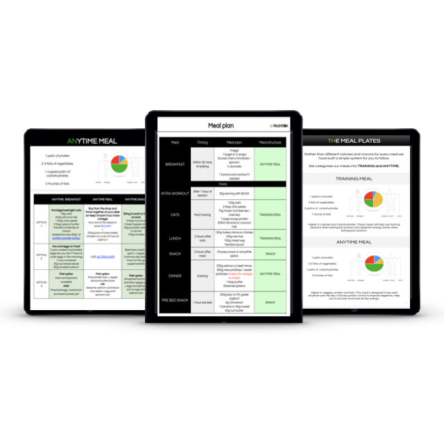Personalised meal plan for every situation - You will receive personalised calories and macros with meal targets.A sample meal plan with various meal options will be included also. This will be updated in each consultation.We also give you exact meal breakdowns based on our meal system, making it super easy to follow your plan and make any adjustments to recipes as you see fit.Train at different times? No problem as we will put a plan in place for each day.