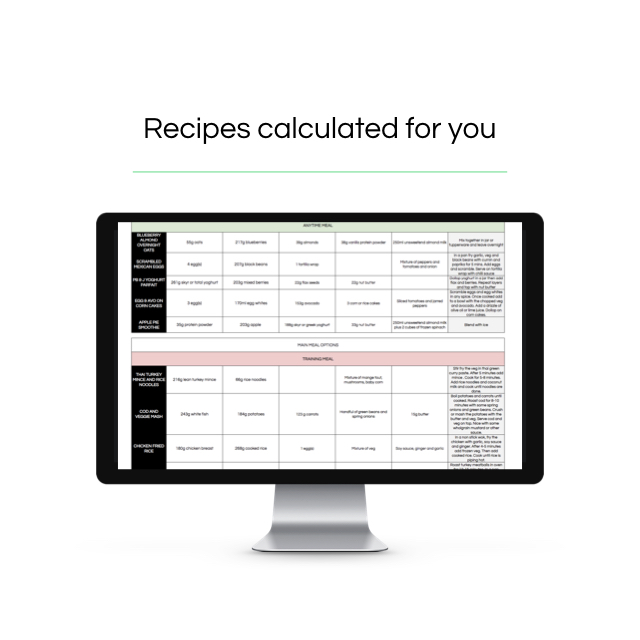 Recipes that match your macros - The sample recipe tab AUTOMATICALLY calculates the recipes based on your mealsThe amounts change to fit your calories and macros.20 recipes tailored for you!