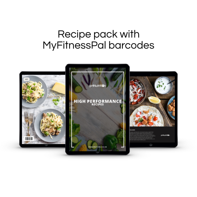 Recipe packs - All of our recipe packs had MyFitnessPal barcodes so no more entering a million ingredients in!Simply scan in a log.We have 2 recipe packs for you. Coupled with the sample recipes in the template thats over 60 recipes!