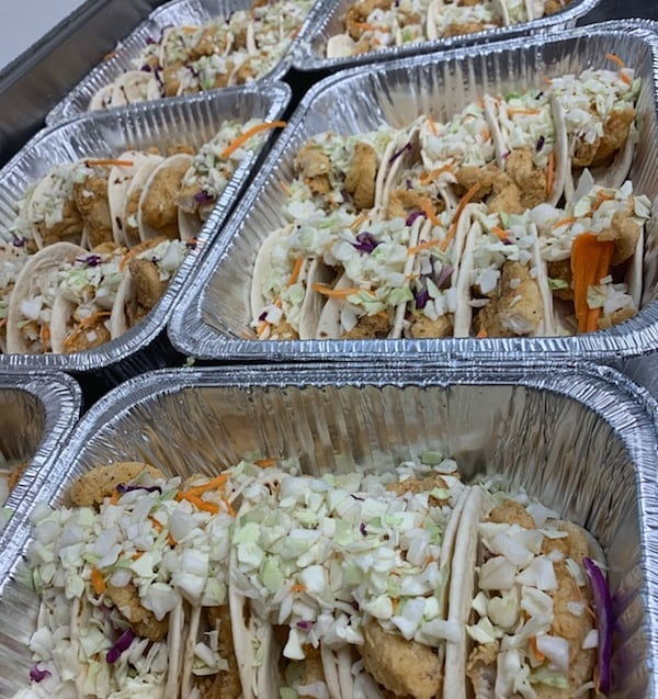 Make your next office party a fish taco fiesta. Delivery options are available. Please call for info. #crispycatch #reelfood #tacos #fishtacos #shrimptacos