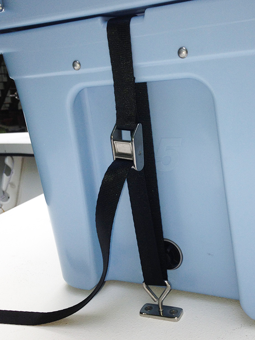 Threaded Deck Plates, T-Bolts and Straps securing a Yeti cooler on an Offshore Mirage flats boat.