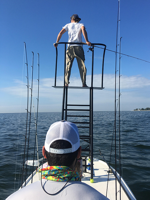 Threaded Deck Plates and Turnbuckles securing 9-foot tower on bow of Spyder skiff
