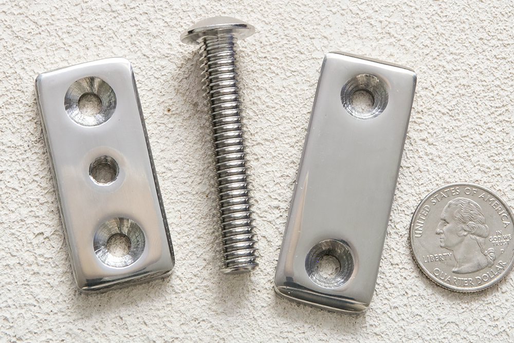 Left to right: Threaded Deck Plate, Threaded Deck Bold, Strap Deck Plate