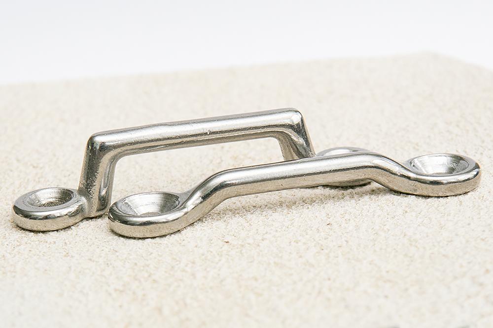 Lower profile Kennedy Deck Loop vs. typical stainless footman loop.