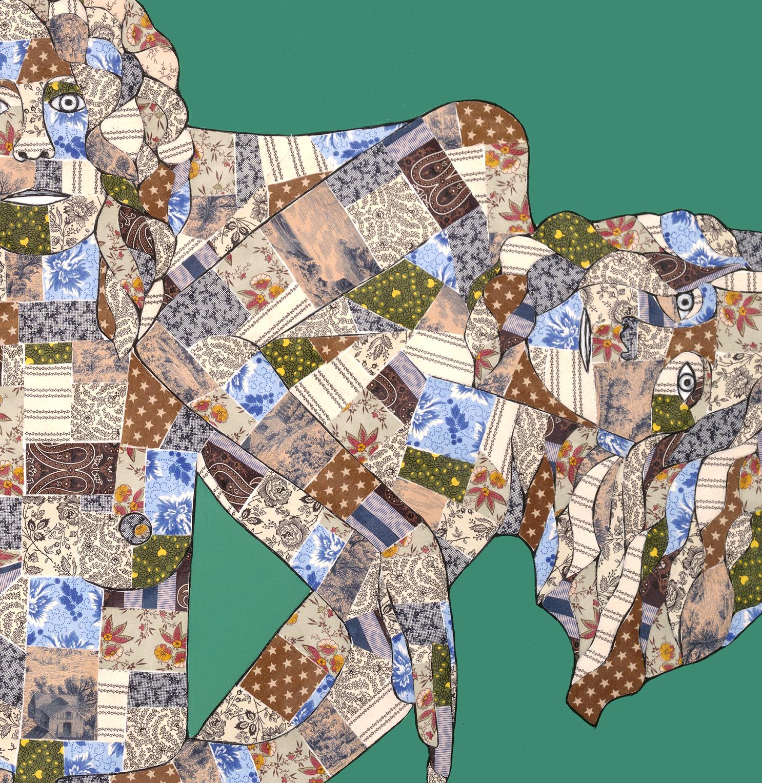 Lisa Foster. David and Goliath. 2017. quilting fabrics:acrylic paint on canvas. 60%22 x 60%22. crop jpeg.jpg