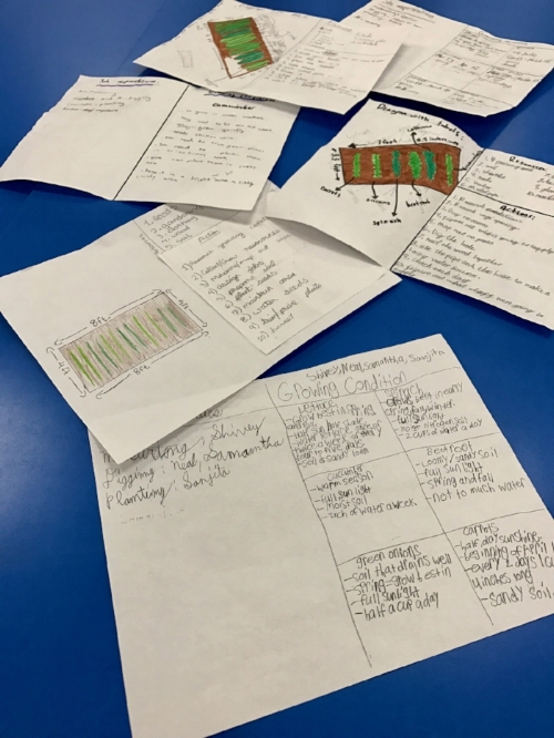 Images of student projects in the planning phase of their garden implementation.
