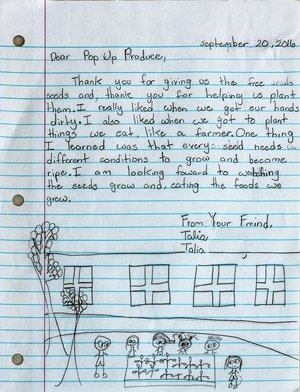 Pop Up Produce Thank You Letter from the Kids